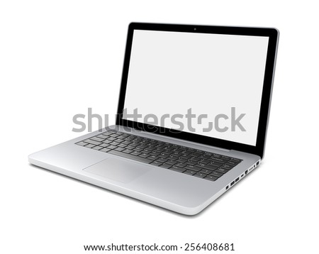 Laptop isolated on a white with blank screen. 3d image 	 - stock photo