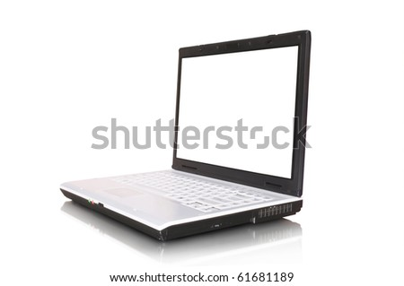 laptop isolated on white and reflection