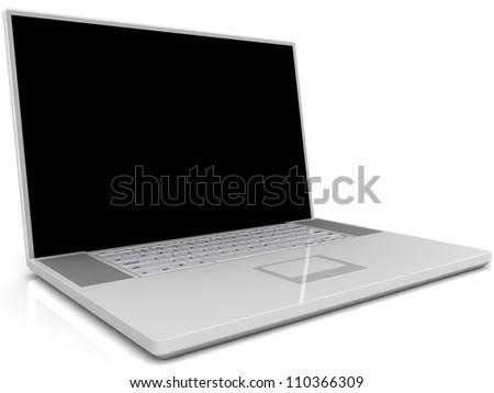 Laptop isolated on white background. - stock photo