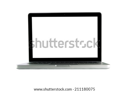 Laptop Isolated on White Background. - stock photo