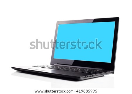 Laptop isolated on white background, Blank blue space on the screen.