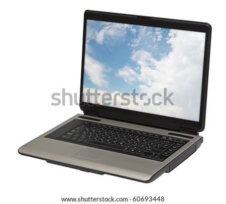 laptop isolated on white background, clipping path - stock photo