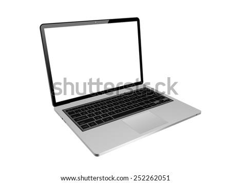 laptop isolated on white background,laptop illustration - stock photo