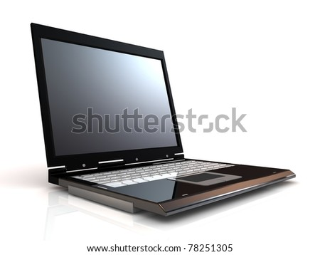Laptop isolated on white background with blank screen. - stock photo