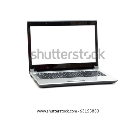 Laptop isolated on white background with empty space - stock photo