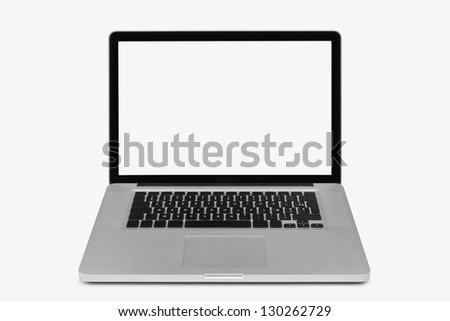 Laptop isolated on white, clipping path included - stock photo
