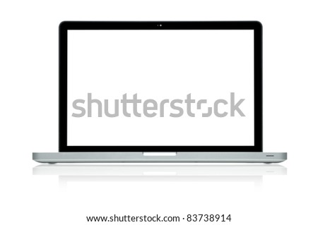 Laptop isolated on white (Clipping path is included)