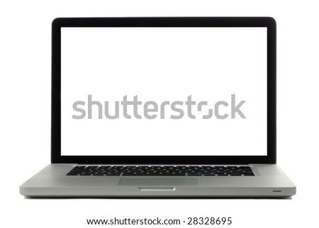 Laptop isolated on white with blank monitor for copy or images - stock photo