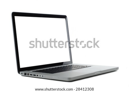 Laptop isolated on white with blank monitor for copy or images. Clipping path for screen.