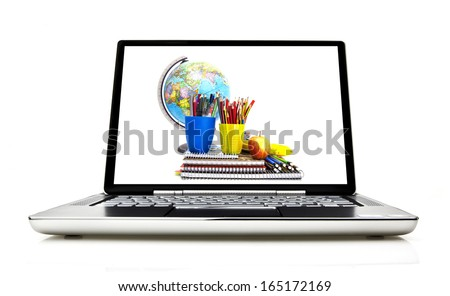 Laptop isolated on white with screen showing school concept - stock photo