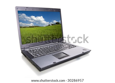 laptop isolated over white background -  landscape screen - stock photo