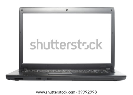 Laptop isolated with clipping path over white background. Front view. - stock photo
