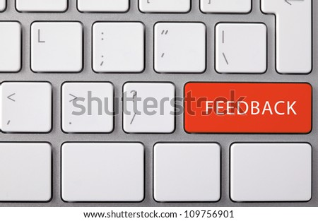 """Laptop keyboard and red key """"FEEDBACK"""" on it. - stock photo"""