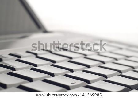 Laptop keyboard close up - stock photo