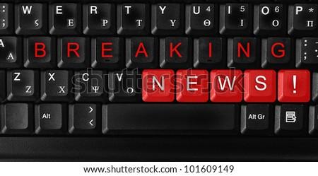 "Laptop keyboard ,text ""breaking news "" colored keys - stock photo"
