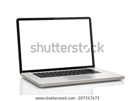 laptop, like macbook with blank screen. Isolated on white background. - stock photo
