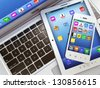 Laptop, mobile phone and digital tablet pc. 3d - stock photo