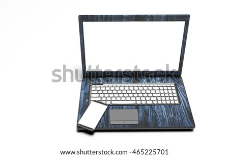 laptop, mobile phone - isolated on white with clipping path, 3d render