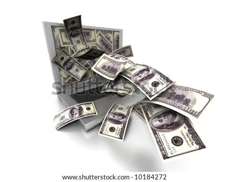 Laptop money - stock photo