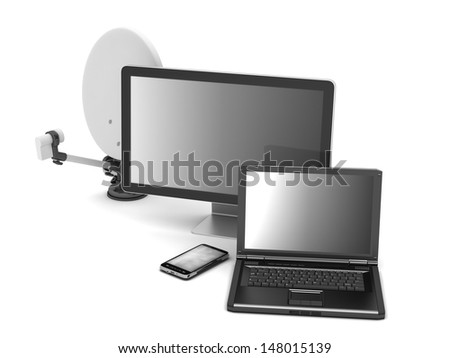 Laptop, monitor;cell phone and satellite - stock photo