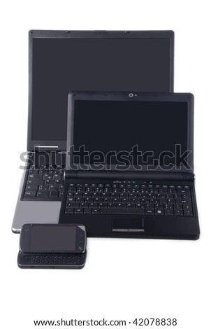laptop, netbook and smart phone - stock photo