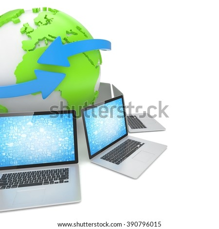 Laptop network around earth globe. 3d render
