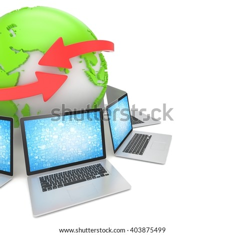 Laptop network around earth globe. 3d rendering.
