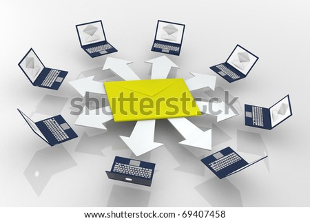 Laptop network connected to server. 3D rendering - stock photo