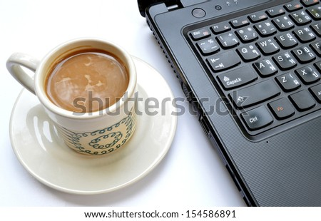 Laptop (notebook) computer with cup of coffee