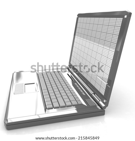 Laptop on a white background - stock photo