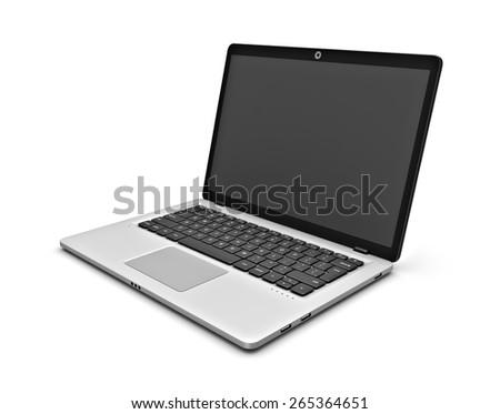 Laptop on a white background. - stock photo