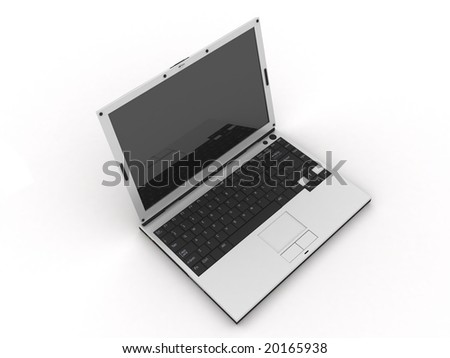 laptop on a white background from kinds from above