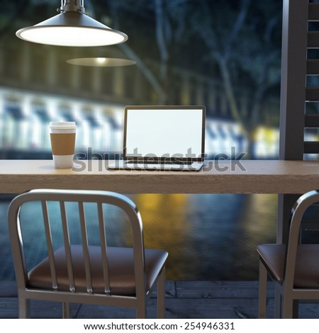 Laptop on cafe table. 3d rendering - stock photo