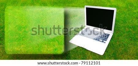 Laptop on grass - stock photo