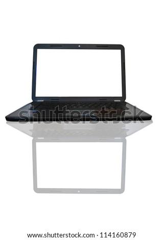 Laptop on isolated white - stock photo