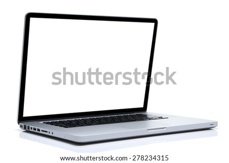 Laptop on isolated white, white screen
