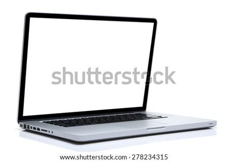 Laptop on isolated white, white screen - stock photo
