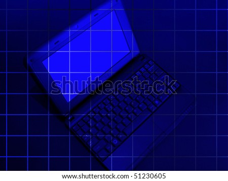 laptop on the blue background with square - stock photo
