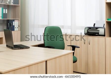 laptop on the desk modern office - stock photo