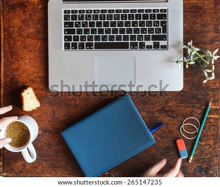 laptop on the table - stock photo