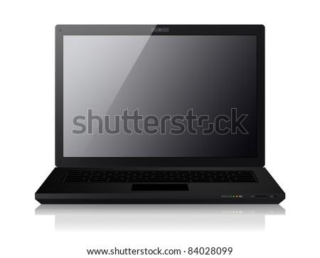 Laptop on white - stock photo