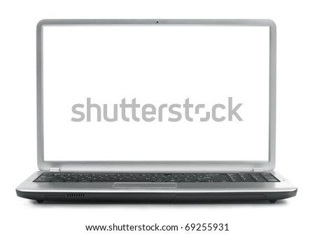 Laptop on white background - stock photo
