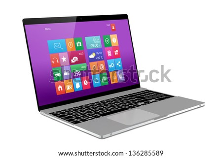Laptop on white background. Perspective - stock photo