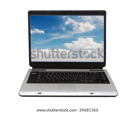 laptop on white background with clipping path - stock photo