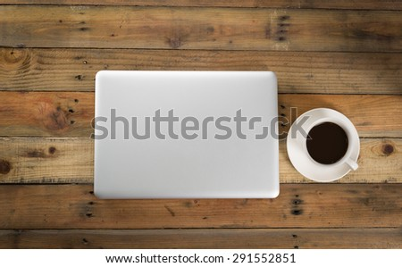 Laptop on wood table