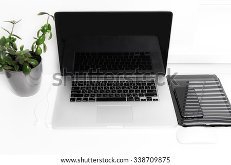 Laptop on working desk