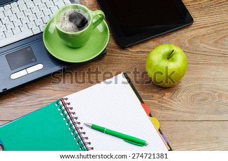 laptop on worplace - stock photo