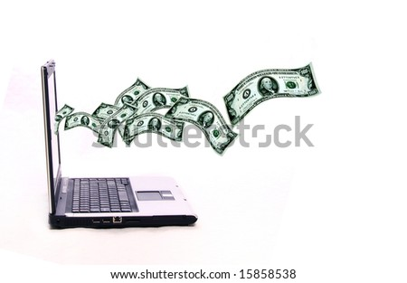 laptop over white abckground with dollars banknotes flying out of the screen