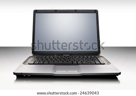 laptop over white background - stock photo