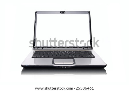 laptop over white background with blank white screen - stock photo